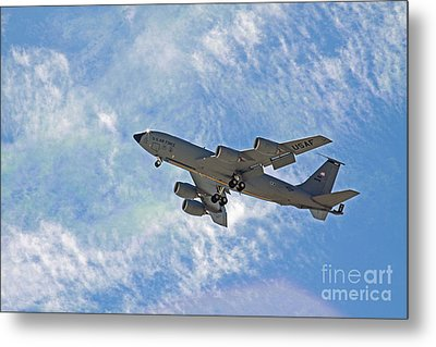 Kc-135 With Clouds Metal Print by Kenny Bosak