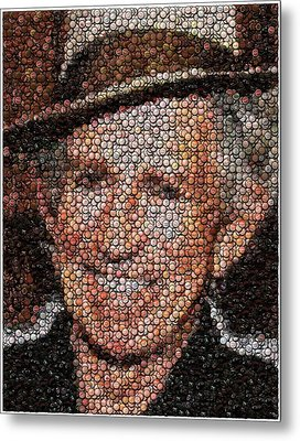 Keith Richards Bottle Cap Mosaic Metal Print by Paul Van Scott