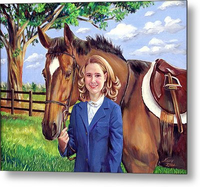 Metal Print featuring the painting Kendall And Her Horse by Nancy Tilles