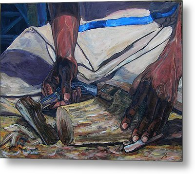 Metal Print featuring the painting Kenny's Hands by Li Newton