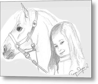 Kiara And Pony Metal Print