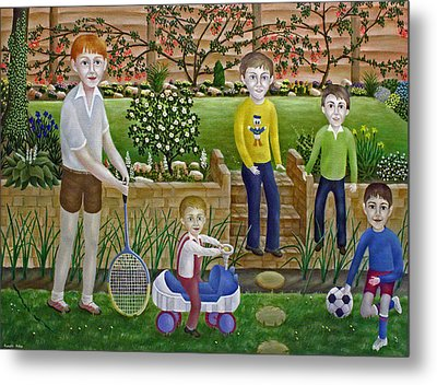 Kids In The Garden Metal Print by Ronald Haber