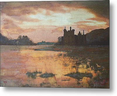 Metal Print featuring the painting Kilchurn Castle Scotland by Richard James Digance