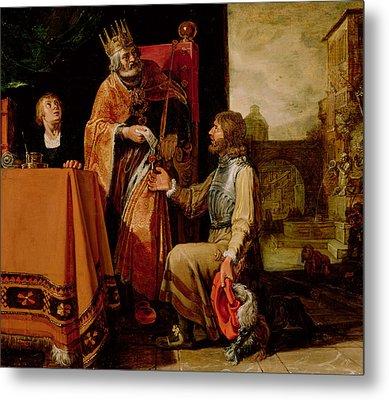 King David Handing The Letter To Uriah Metal Print by Pieter Lastman