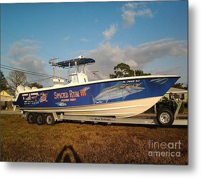 Kingfish Boat Wrap Metal Print by Carey Chen
