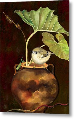 Metal Print featuring the painting Kinglet And Friend by Anne Beverley-Stamps