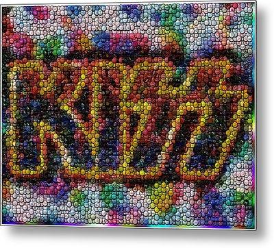 Kiss Bottle Cap Mosaic Metal Print by Paul Van Scott