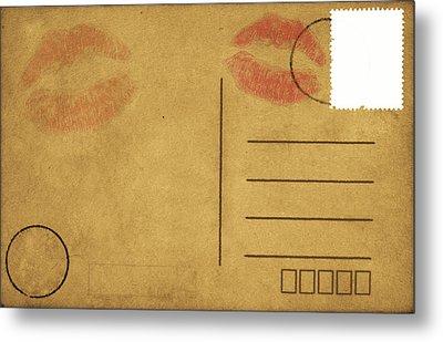 Kiss Lips On Postcard Metal Print by Setsiri Silapasuwanchai