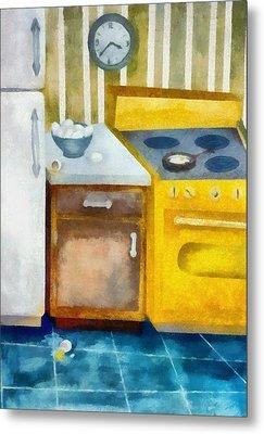 Kitchen With Broken Eggs Metal Print by Michelle Calkins