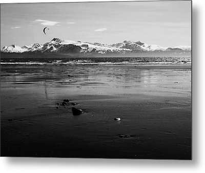 Kite Surfer On An Alaskan Beach Metal Print