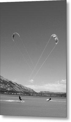 Kiteboarding Symmetry Metal Print by Skip Brown