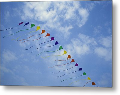 Kites Fly In A Rainbow Of Colors Metal Print by Stephen Alvarez