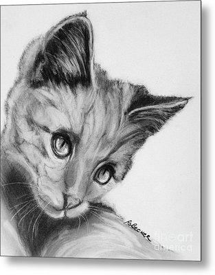 Kitten Cameo Metal Print by Susan A Becker