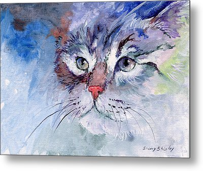Kitty In Blue Metal Print by Sherry Shipley
