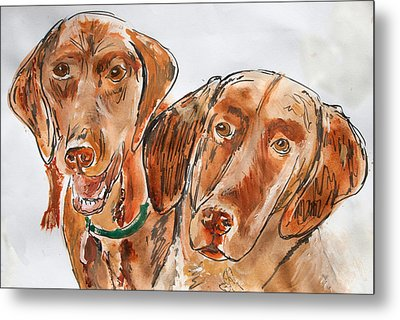 Metal Print featuring the painting Kiwi And Remi by Jim  Arnold