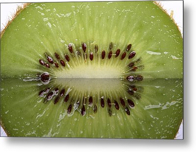 Kiwi Fruit Reflected On Glass Metal Print by Mark Duffy