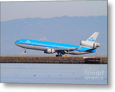 Klm Royal Dutch Airlines Jet Airplane At San Francisco International Airport Sfo . 7d12157 Metal Print by Wingsdomain Art and Photography