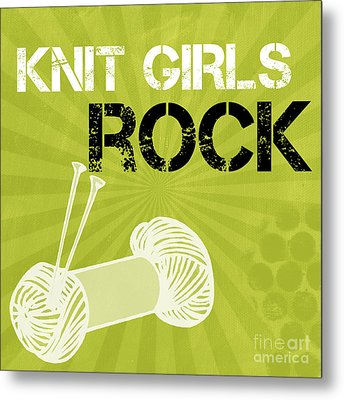 Knit Girls Rock Metal Print by Linda Woods