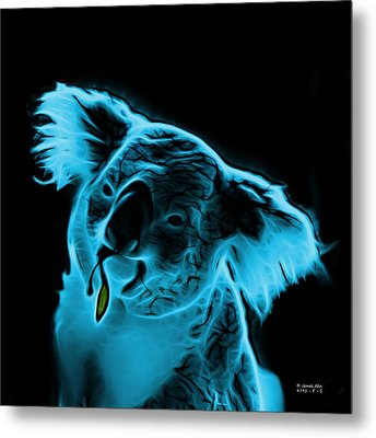 Koala Pop Art - Cyan Metal Print