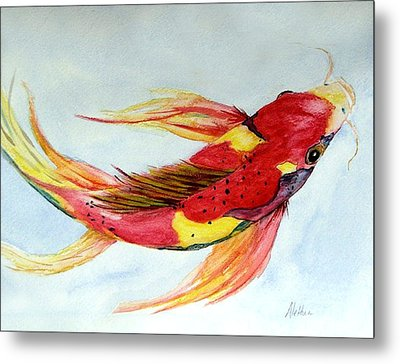 Metal Print featuring the painting Koi by Alethea McKee