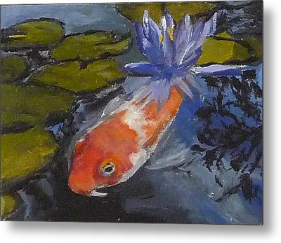 Koi And Lily Metal Print by Jessmyne Stephenson