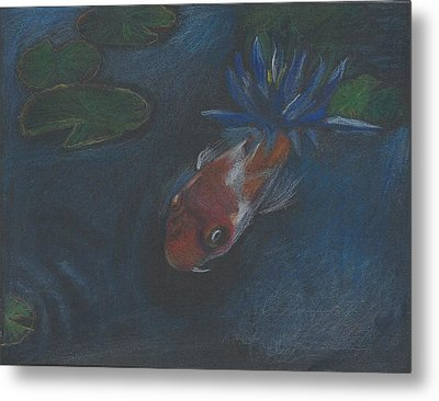 Metal Print featuring the painting Koi And Water Lily by Jessmyne Stephenson