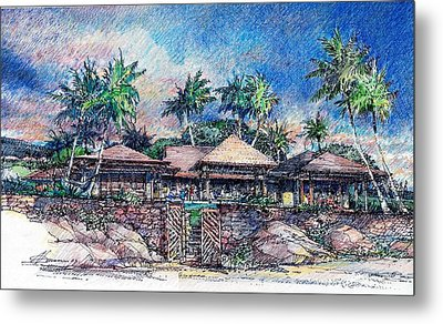 Metal Print featuring the drawing Kona Residence by Andrew Drozdowicz