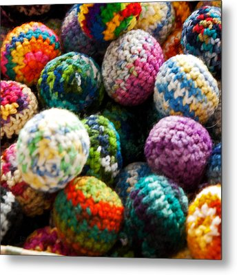 Koosh Ball Rainbow Metal Print