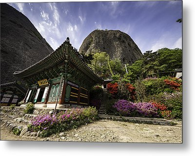 Korean Buddhist Temple With Flowers And Mountains Metal Print by Thomas Arthur