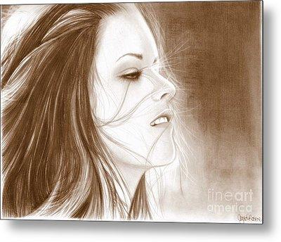 Kristen Stewart - Sepia Metal Print by Crystal Rosene