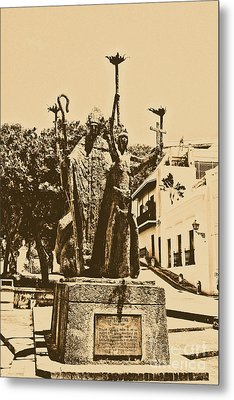 La Rogativa Sculpture Old San Juan Puerto Rico Rustic Metal Print by Shawn O'Brien