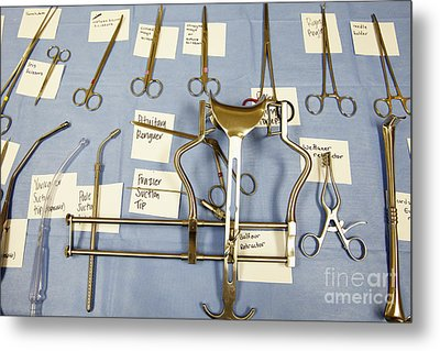 Labeled Surgical Tools Metal Print