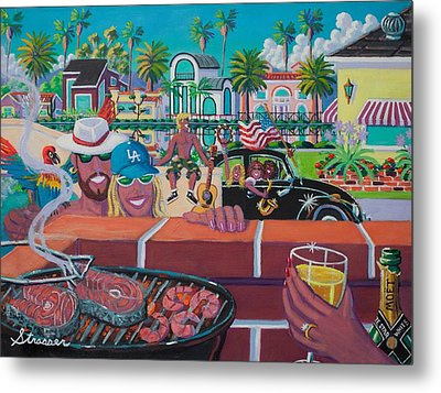 Labor Day Venice Style Metal Print by Frank Strasser