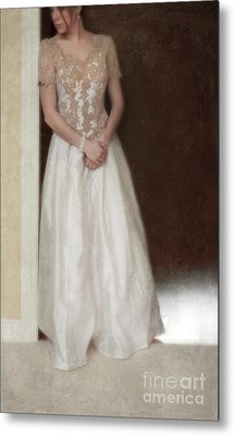 Lacy In Ecru Lace Gown Metal Print by Jill Battaglia