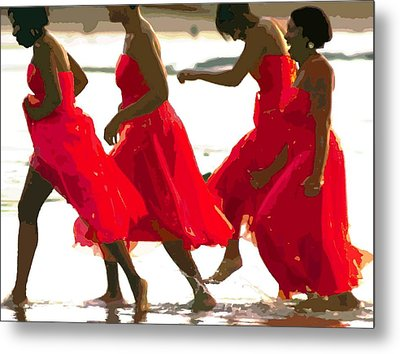 Ladies In Red Metal Print
