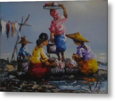 Ladies  Washing Clothes The River Metal Print by Pretchill Smith