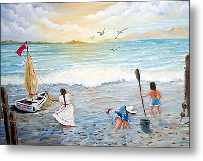Lady Bay Children On The Beach Metal Print by Janna Columbus