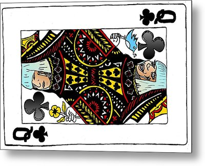 Lady Gaga Queen Of Clubs Poker Face Caricature Metal Print by Yasha Harari