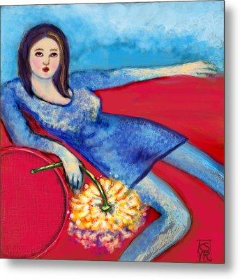 Lady In Blue Metal Print by Kimberly Van Rossum