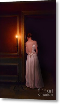 Lady In Candle Light Metal Print