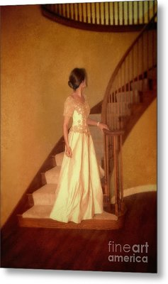 Lady In Lace Gown On Staircase Metal Print by Jill Battaglia