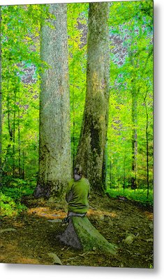 Lady In The Woods Metal Print by David Lee Thompson