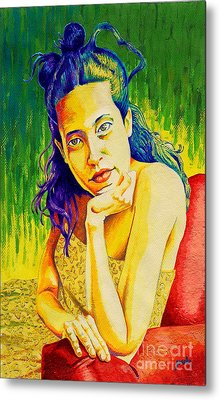 Lady N Colour Metal Print by Jose Miguel Barrionuevo