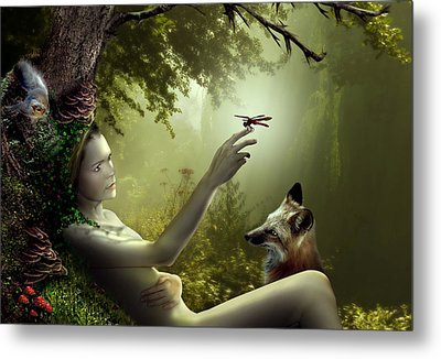 Lady Of The Forest Metal Print by Julie L Hoddinott