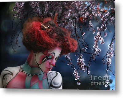 Metal Print featuring the digital art Lady Spring Silence by Rosa Cobos