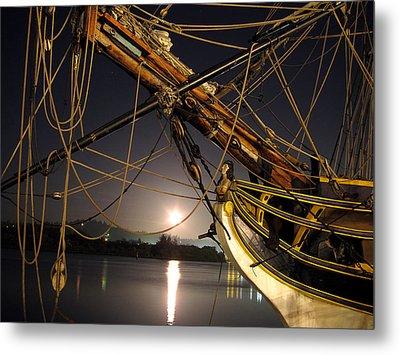 Lady Washington - Moonlight On Coos Bay Metal Print by Gary Rifkin