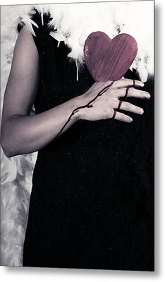 Lady With Blood And Heart Metal Print by Joana Kruse