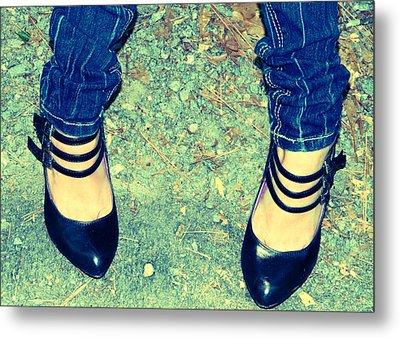Lady's Feet-vintage Metal Print by Ester  Rogers