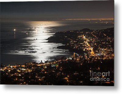 Metal Print featuring the photograph Laguna Beach Moonlight by Sonny Marcyan