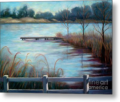 Metal Print featuring the painting Lake Acworth Dock by Gretchen Allen